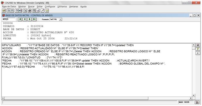 Formato WCTRL de la base  de datos del mismo nombre que traduce caracteres del inglés al español