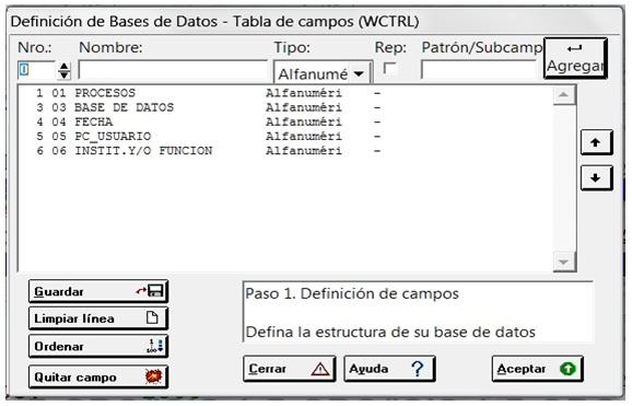 Tabla de Definición de Campos (FDT) de Base WTCRL
