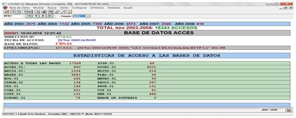 """Visualización  en WINISIS con formato WIN2.PFT, datos almacenados en """"LINEA  ORIGINAL"""". También se pueden ver con formato estándar de *ALL."""