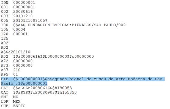 Registro de existencias tal cual fue  exportado de Alephino