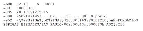 Registro formateado para ser  incorporado a Koha utilizando la regla de coincidencia de registro por 001